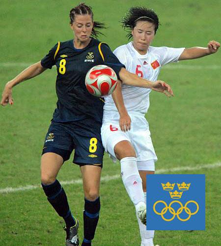 瑞典女足2008奥运会客场球衣
